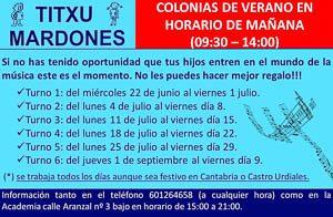 Min Cartel Colonias musicales Academia - Escuela de música Titxu Mardones en Castro Urdiales